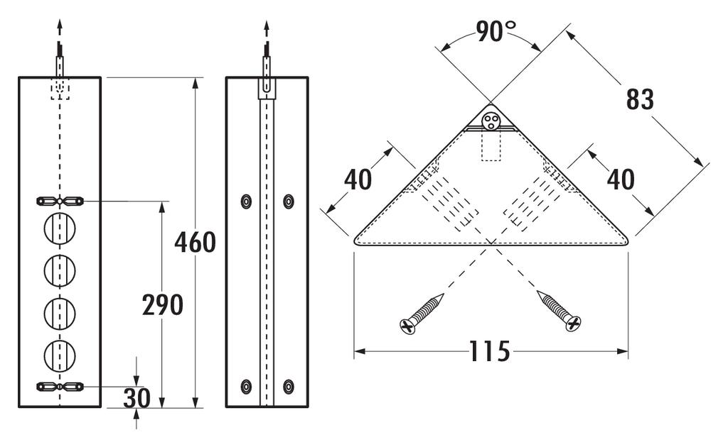 Eck-Steckdosenelement Mira ES1-S, teleskopierbar, 3-fach Ecksteckdose mit  Schalter für Büro und Küche, Steckdosenleiste, Steckdose